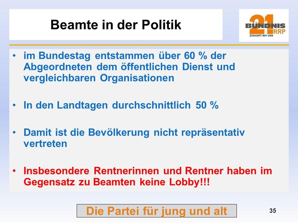 Die Partei für jung und alt Vergleich Beamte mit Angestellten und Facharbeitern (2) 34