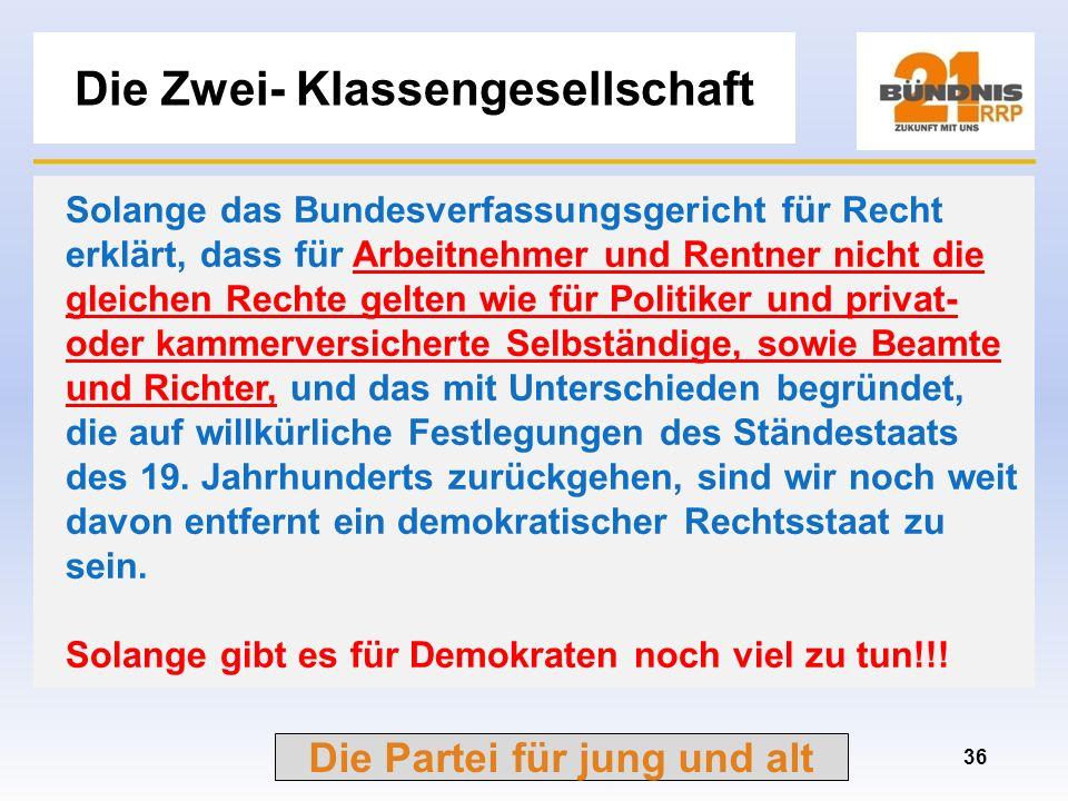Die Partei für jung und alt Beamte in der Politik 35 im Bundestag entstammen über 60 % der Abgeordneten dem öffentlichen Dienst und vergleichbaren Org