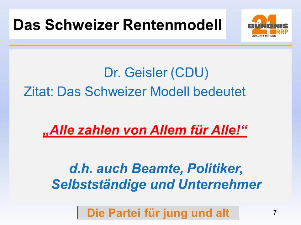 Die Partei für jung und alt Forderungen für die Rente Rentenmodell angelehnt an Schweizer Modell: –Bürgerversicherung + betriebliche Altersvorsorge –I