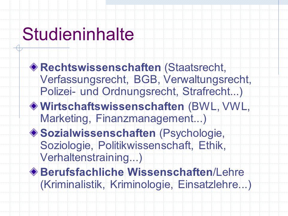 Studieninhalte Rechtswissenschaften (Staatsrecht, Verfassungsrecht, BGB, Verwaltungsrecht, Polizei- und Ordnungsrecht, Strafrecht...) Wirtschaftswisse