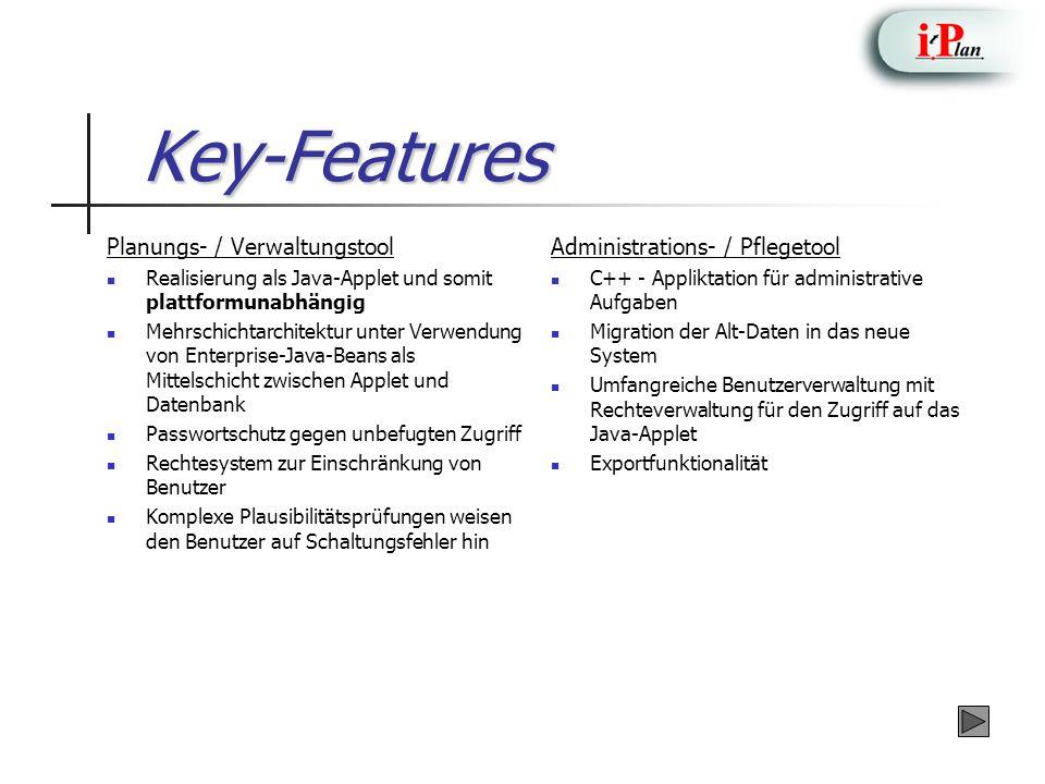 Key-Features Planungs- / Verwaltungstool Realisierung als Java-Applet und somit plattformunabhängig Mehrschichtarchitektur unter Verwendung von Enterprise-Java-Beans als Mittelschicht zwischen Applet und Datenbank Passwortschutz gegen unbefugten Zugriff Rechtesystem zur Einschränkung von Benutzer Komplexe Plausibilitätsprüfungen weisen den Benutzer auf Schaltungsfehler hin Administrations- / Pflegetool C++ - Appliktation für administrative Aufgaben Migration der Alt-Daten in das neue System Umfangreiche Benutzerverwaltung mit Rechteverwaltung für den Zugriff auf das Java-Applet Exportfunktionalität