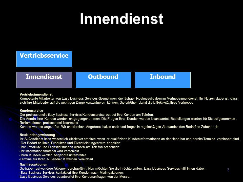 3 Innendienst Vertriebsservice InboundInnendienstOutbound Vertriebsinnendienst Kompetente Mitarbeiter von Easy Business Services übernehmen die lästig