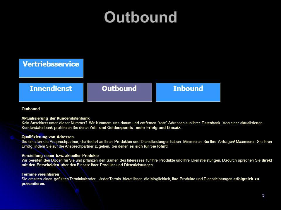 6 Inbound Vertriebsservice InboundInnendienstOutbound Inbound Bestellannahme Nach Absprache beraten wir Ihre Kunden bei ihrer Bestellung, nehmen Aufträge an und leiten diese an Sie weiter.