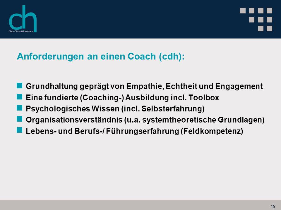 15 Anforderungen an einen Coach (cdh): Grundhaltung geprägt von Empathie, Echtheit und Engagement Eine fundierte (Coaching-) Ausbildung incl. Toolbox