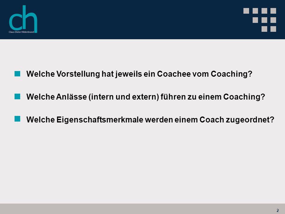 2 Welche Vorstellung hat jeweils ein Coachee vom Coaching? Welche Anlässe (intern und extern) führen zu einem Coaching? Welche Eigenschaftsmerkmale we