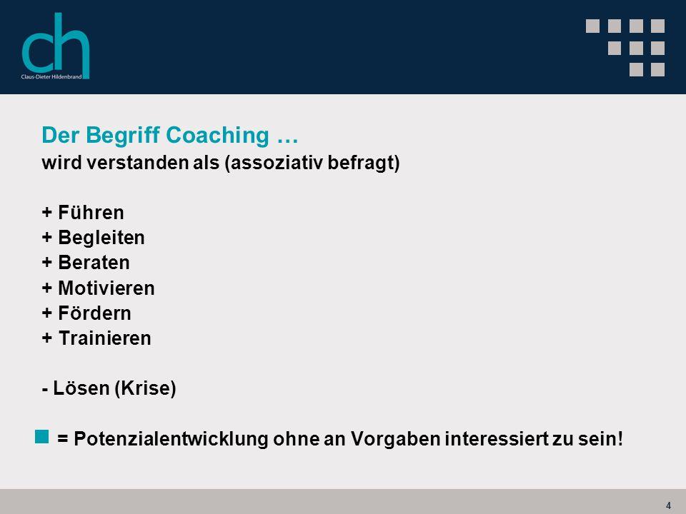 4 Der Begriff Coaching … wird verstanden als (assoziativ befragt) + Führen + Begleiten + Beraten + Motivieren + Fördern + Trainieren - Lösen (Krise) =