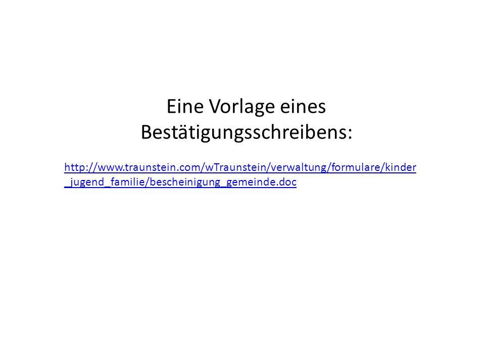 Eine Vorlage eines Bestätigungsschreibens: http://www.traunstein.com/wTraunstein/verwaltung/formulare/kinder _jugend_familie/bescheinigung_gemeinde.do
