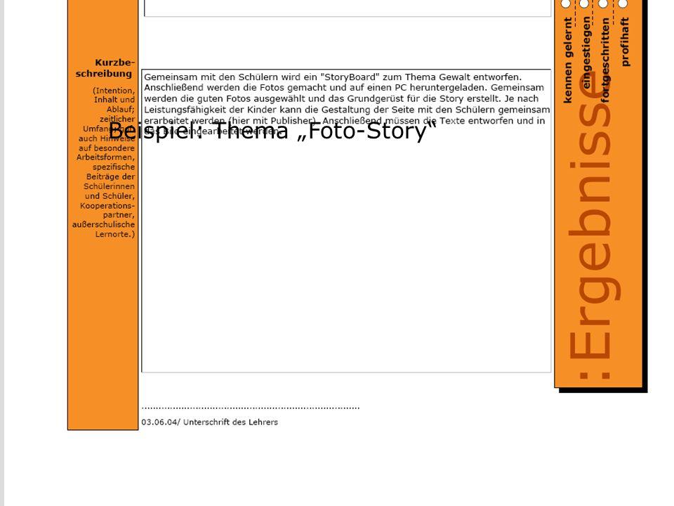 Portfolio III Beispiel: Thema Foto-Story