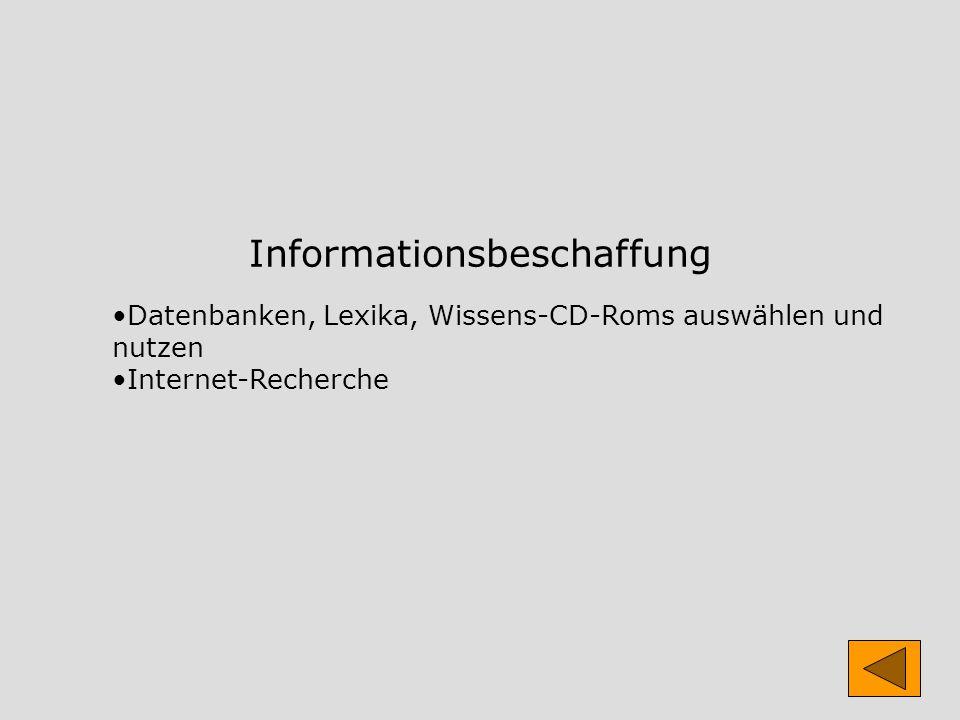 Informationsbeschaffung Datenbanken, Lexika, Wissens-CD-Roms auswählen und nutzen Internet-Recherche