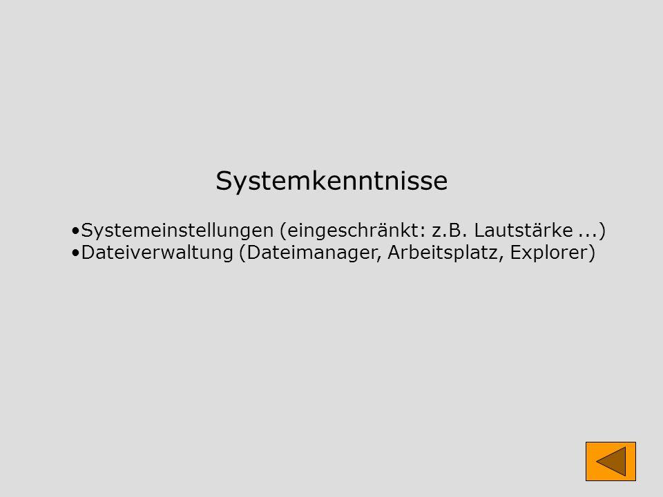 Systemkenntnisse Systemeinstellungen (eingeschränkt: z.B. Lautstärke...) Dateiverwaltung (Dateimanager, Arbeitsplatz, Explorer)
