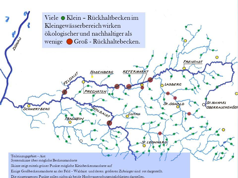 Viele Klein – Rückhaltbecken im Kleingewässerbereich wirken ökologischer und nachhaltiger als wenige Groß - Rückhaltebecken.