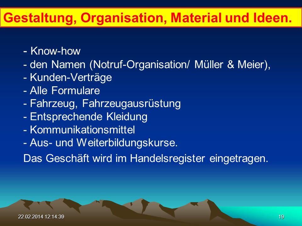 22.02.2014 12:16:1619 - Know-how - den Namen (Notruf-Organisation/ Müller & Meier), - Kunden-Verträge - Alle Formulare - Fahrzeug, Fahrzeugausrüstung - Entsprechende Kleidung - Kommunikationsmittel - Aus- und Weiterbildungskurse.
