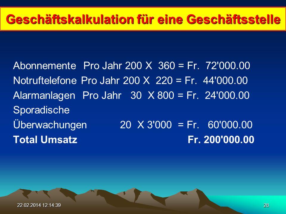 22.02.2014 12:16:1628 Abonnemente Pro Jahr 200 X 360 = Fr.