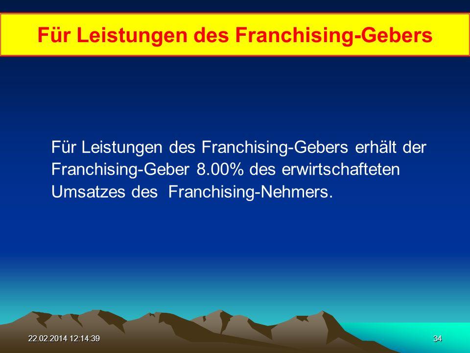 22.02.2014 12:16:1634 Für Leistungen des Franchising-Gebers Für Leistungen des Franchising-Gebers erhält der Franchising-Geber 8.00% des erwirtschafteten Umsatzes des Franchising-Nehmers.