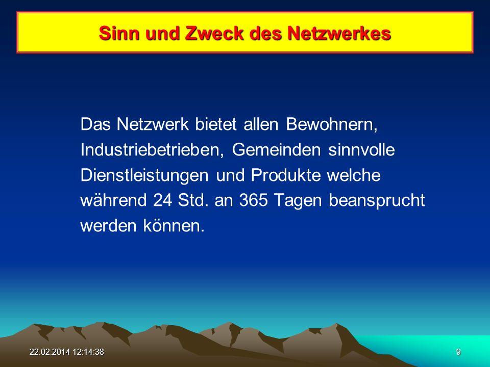 22.02.2014 12:16:169 Sinn und Zweck des Netzwerkes Das Netzwerk bietet allen Bewohnern, Industriebetrieben, Gemeinden sinnvolle Dienstleistungen und Produkte welche während 24 Std.
