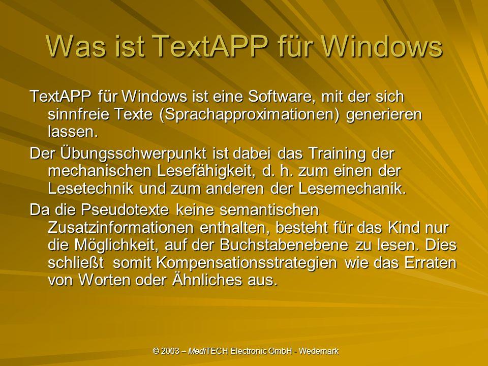 Was ist TextAPP für Windows TextAPP für Windows ist eine Software, mit der sich sinnfreie Texte (Sprachapproximationen) generieren lassen.