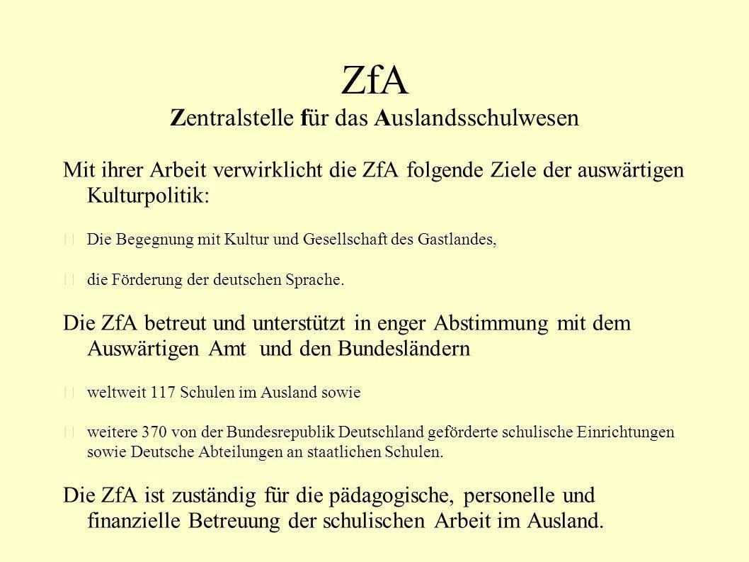 ZfA Zentralstelle für das Auslandsschulwesen Mit ihrer Arbeit verwirklicht die ZfA folgende Ziele der auswärtigen Kulturpolitik: Die Begegnung mit Kul