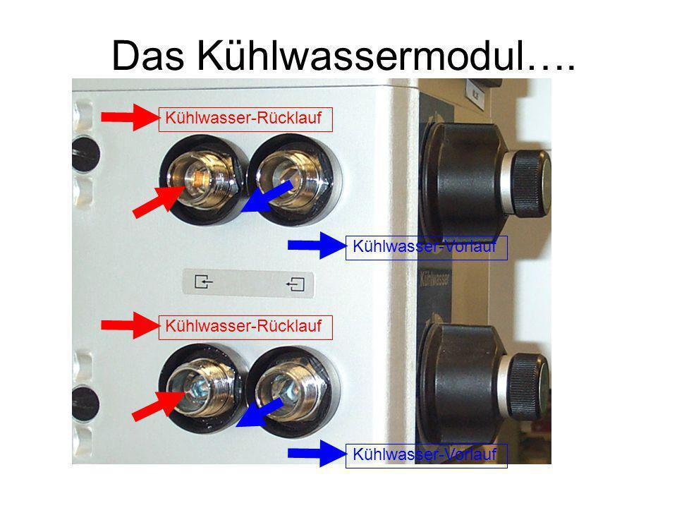 Das Kühlwassermodul…. Kühlwasser-Rücklauf Kühlwasser-Vorlauf Kühlwasser-Rücklauf