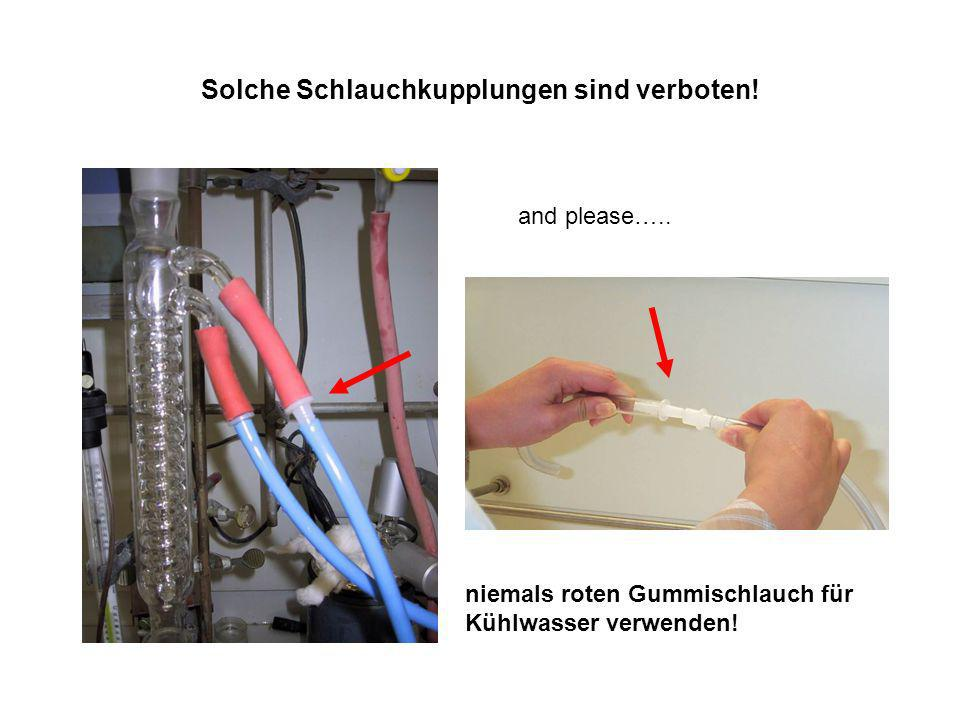 Solche Schlauchkupplungen sind verboten! and please….. niemals roten Gummischlauch für Kühlwasser verwenden!