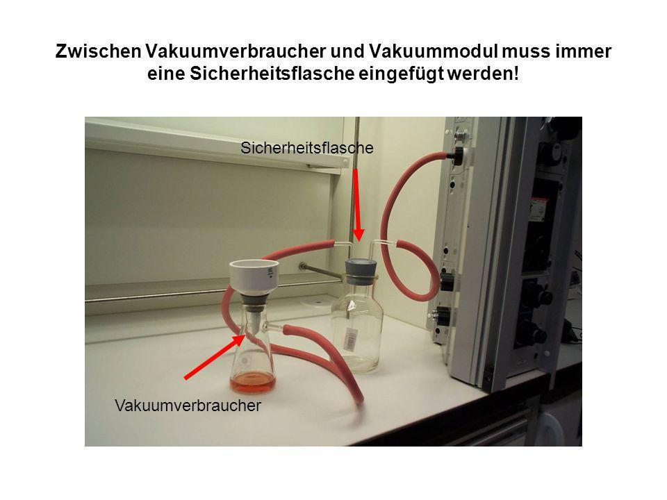 Zwischen Vakuumverbraucher und Vakuummodul muss immer eine Sicherheitsflasche eingefügt werden! Sicherheitsflasche Vakuumverbraucher