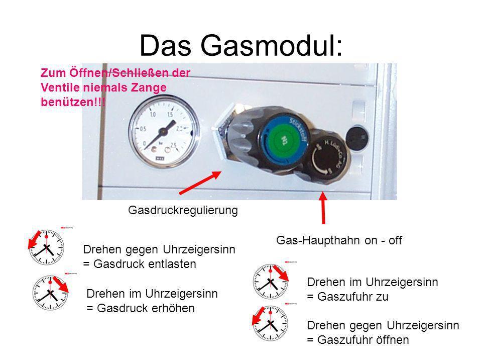 Das Gasmodul: Gas-Haupthahn on - off Drehen im Uhrzeigersinn = Gaszufuhr zu Drehen gegen Uhrzeigersinn = Gaszufuhr öffnen Gasdruckregulierung Drehen g