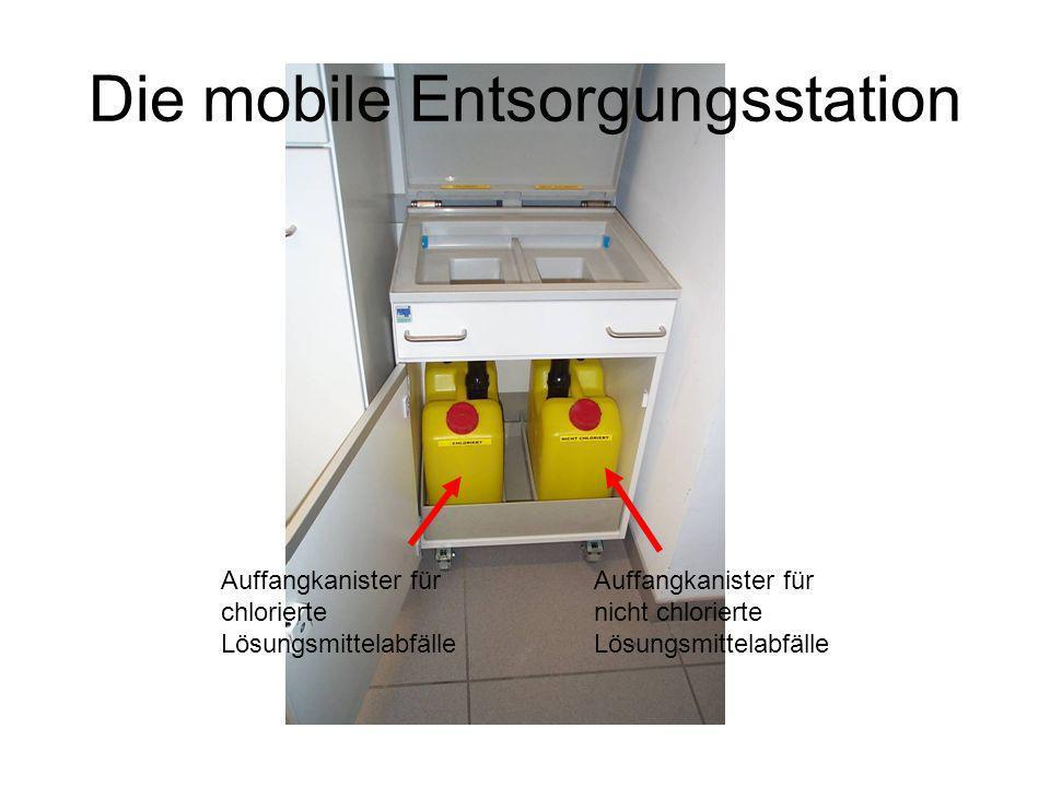 Die mobile Entsorgungsstation Auffangkanister für nicht chlorierte Lösungsmittelabfälle Auffangkanister für chlorierte Lösungsmittelabfälle
