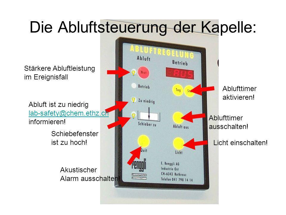 Die Abluftsteuerung der Kapelle: Ablufttimer aktivieren! Ablufttimer ausschalten! Licht einschalten! Akustischer Alarm ausschalten! Schiebefenster ist