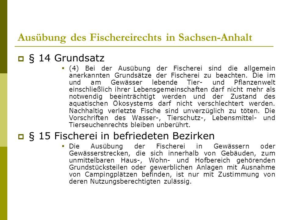 Ausübung des Fischereirechts in Sachsen-Anhalt § 14 Grundsatz (4) Bei der Ausübung der Fischerei sind die allgemein anerkannten Grundsätze der Fischerei zu beachten.