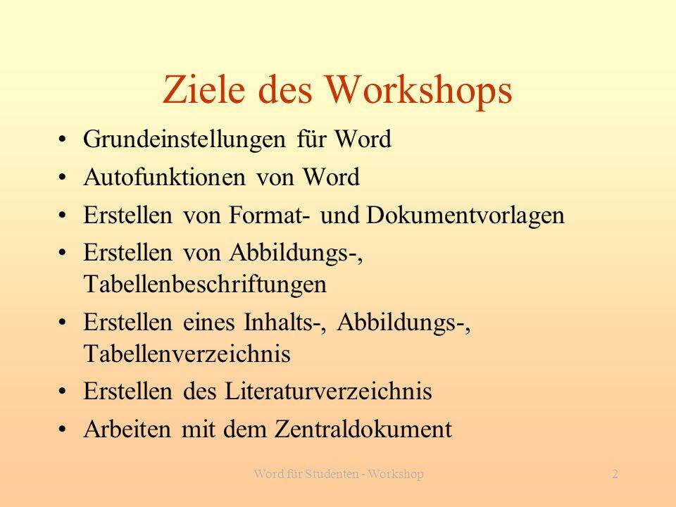 Word für Studenten - Workshop2 Ziele des Workshops Grundeinstellungen für Word Autofunktionen von Word Erstellen von Format- und Dokumentvorlagen Erst