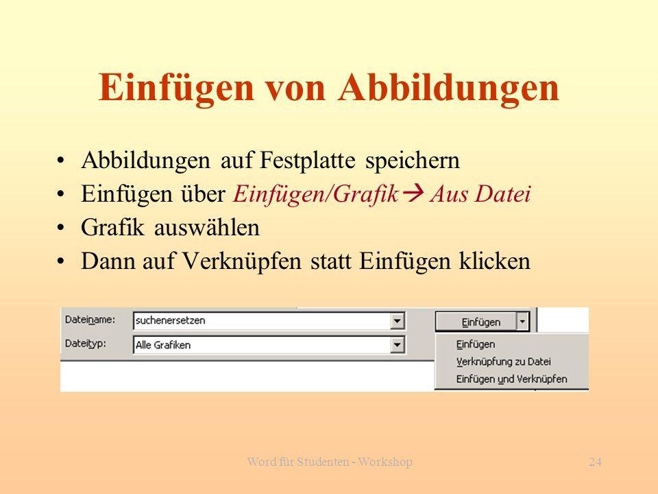 Word für Studenten - Workshop24 Einfügen von Abbildungen Abbildungen auf Festplatte speichern Einfügen über Einfügen/Grafik Aus Datei Grafik auswählen