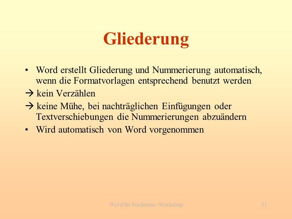 Word für Studenten - Workshop31 Gliederung Word erstellt Gliederung und Nummerierung automatisch, wenn die Formatvorlagen entsprechend benutzt werden