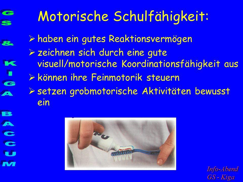 Motorische Schulfähigkeit: haben ein gutes Reaktionsvermögen zeichnen sich durch eine gute visuell/motorische Koordinationsfähigkeit aus können ihre F