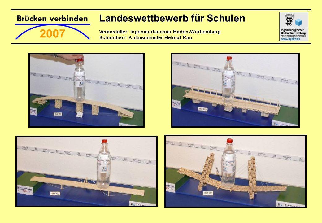 Landeswettbewerb für Schulen Veranstalter: Ingenieurkammer Baden-Württemberg Schirmherr: Kultusminister Helmut Rau 2007