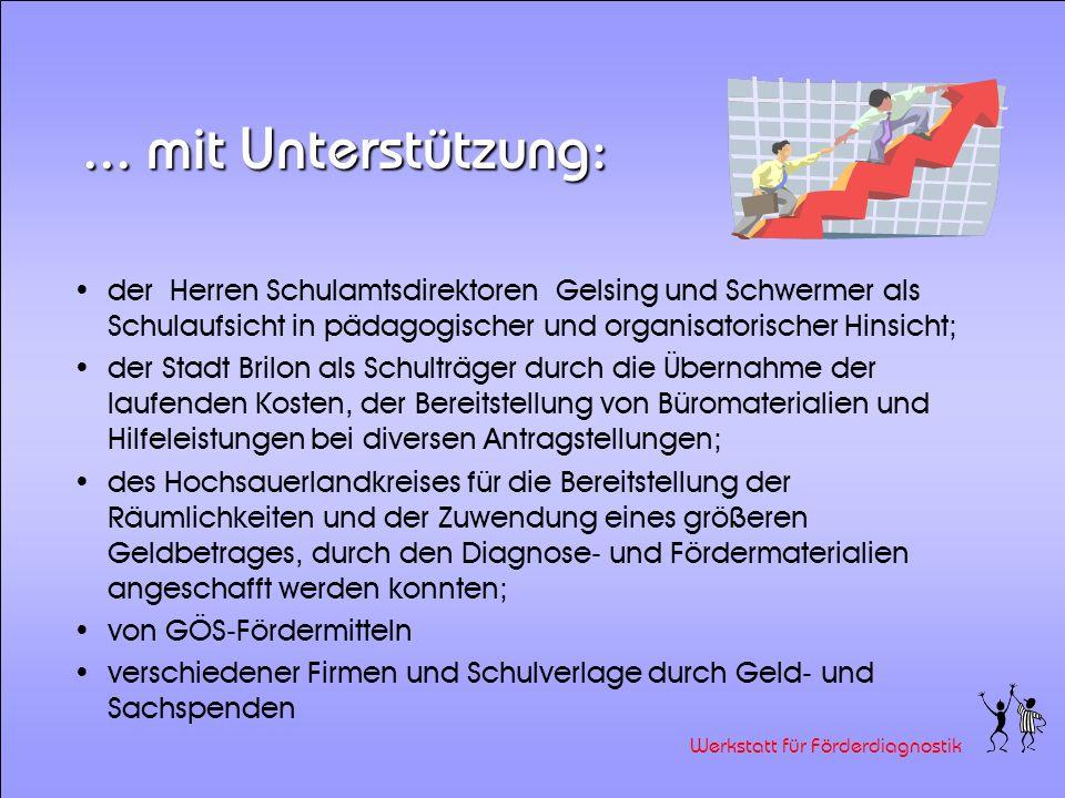 Werkstatt für Förderdiagnostik Die Werkstatt wurde gegründet von: Elke Karcher, Kardinal-von-Galen Schule, Olsberg Ingrid Pflüger-Hartmann, Christopho