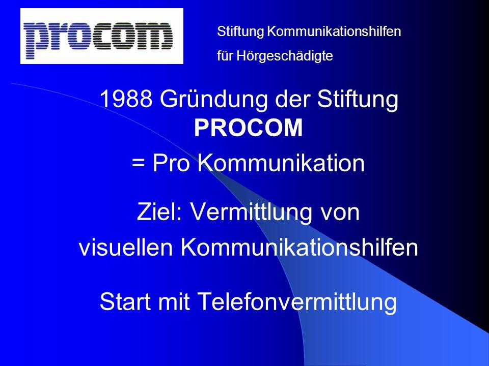 1988 Gründung der Stiftung PROCOM = Pro Kommunikation Ziel: Vermittlung von visuellen Kommunikationshilfen Start mit Telefonvermittlung Stiftung Kommu