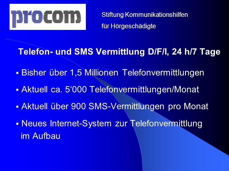 Telefon- und SMS Vermittlung D/F/I, 24 h/7 Tage Bisher über 1,5 Millionen Telefonvermittlungen Aktuell ca. 5000 Telefonvermittlungen/Monat Aktuell übe