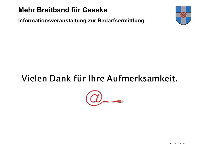 Mastertextformat bearbeiten - 14 - 04.02.2010 - Mehr Breitband für Büren… Vielen Dank für Ihre Aufmerksamkeit. Informationsveranstaltung zur Bedarfser