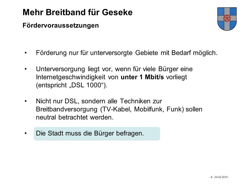 Mastertextformat bearbeiten - 9 - 04.02.2010 - - Eckpunkte der Förderung des Landes NRW 2/2 - Mehr Breitband für Büren… Wenn der Markt die Breitbandversorgung ermöglicht, dürfen keine Fördermittel an Netzbetreiber gezahlt werden.