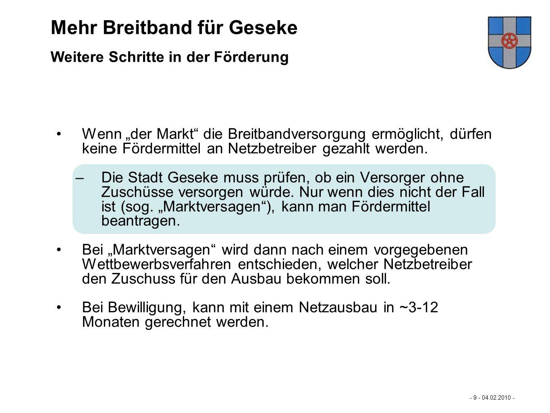 Mastertextformat bearbeiten - 9 - 04.02.2010 - - Eckpunkte der Förderung des Landes NRW 2/2 - Mehr Breitband für Büren… Wenn der Markt die Breitbandve