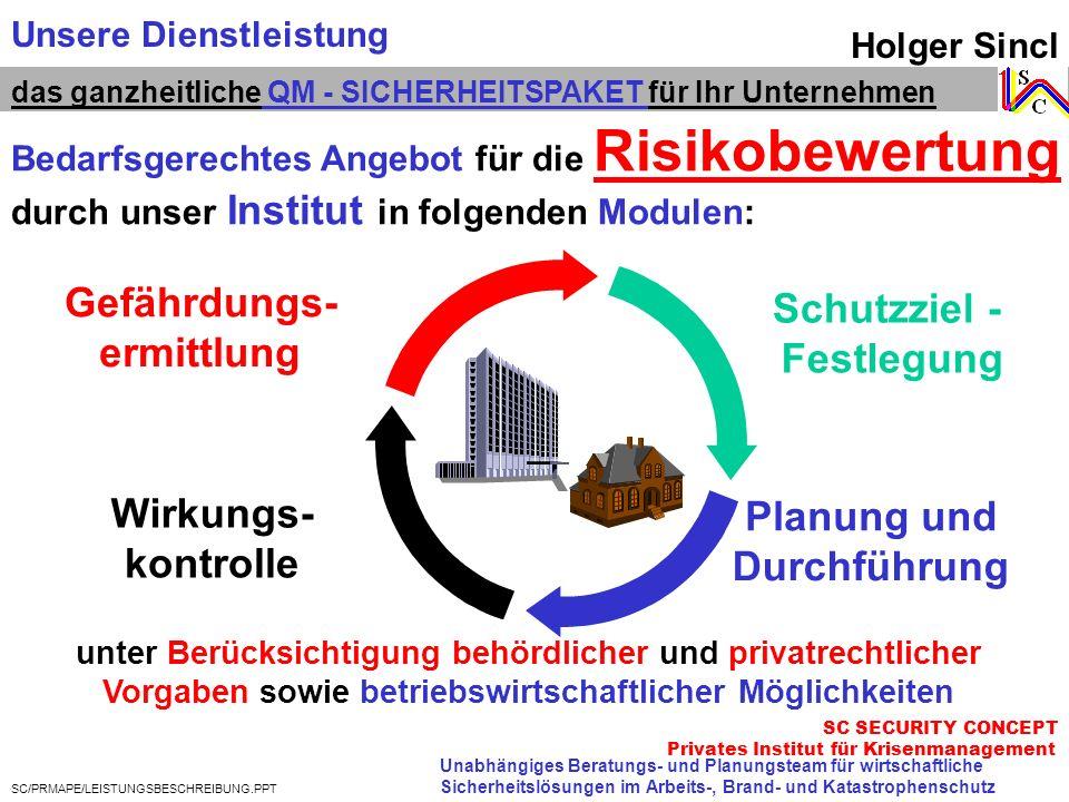 Holger Sincl Unabhängiges Beratungs- und Planungsteam für wirtschaftliche Sicherheitslösungen im Arbeits-, Brand- und Katastrophenschutz das ganzheitl