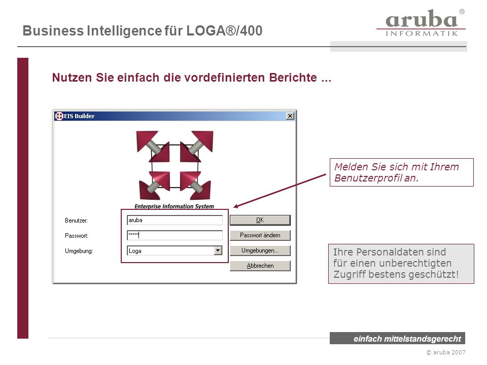 einfach mittelstandsgerecht © aruba 2007 Melden Sie sich mit Ihrem Benutzerprofil an. Ihre Personaldaten sind für einen unberechtigten Zugriff bestens