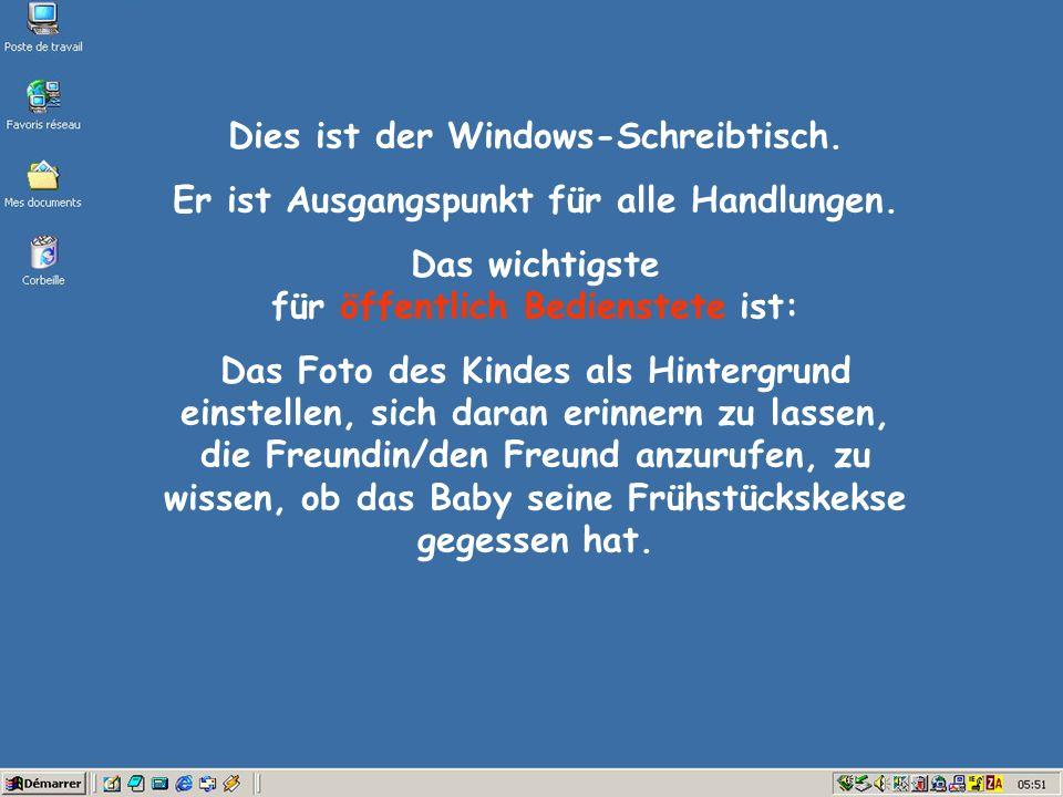 Dies ist der Windows-Schreibtisch.Er ist Ausgangspunkt für alle Handlungen.
