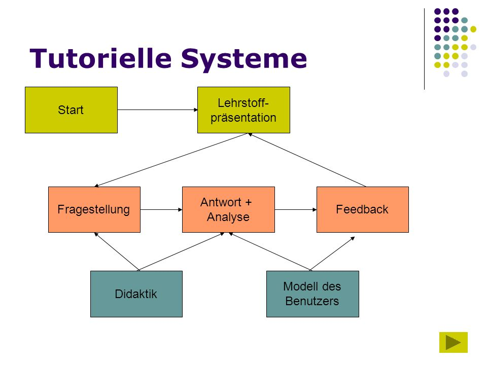 16 Tutorielle Systeme Start Lehrstoff- präsentation Fragestellung Antwort + Analyse Feedback Didaktik Modell des Benutzers