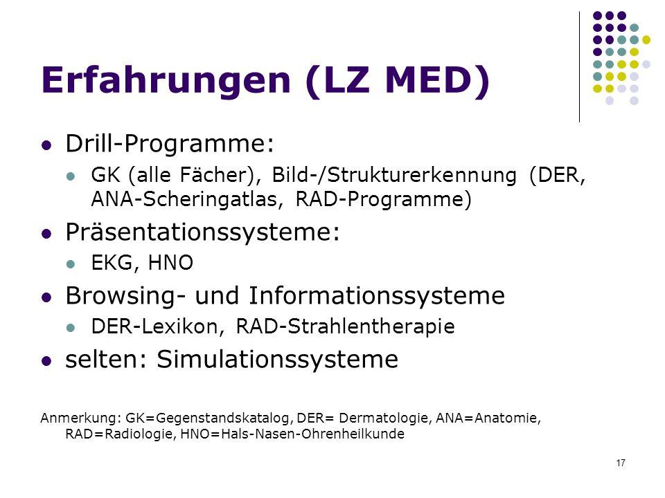 17 Erfahrungen (LZ MED) Drill-Programme: GK (alle Fächer), Bild-/Strukturerkennung (DER, ANA-Scheringatlas, RAD-Programme) Präsentationssysteme: EKG,