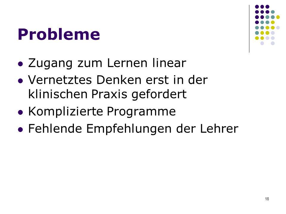 18 Probleme Zugang zum Lernen linear Vernetztes Denken erst in der klinischen Praxis gefordert Komplizierte Programme Fehlende Empfehlungen der Lehrer