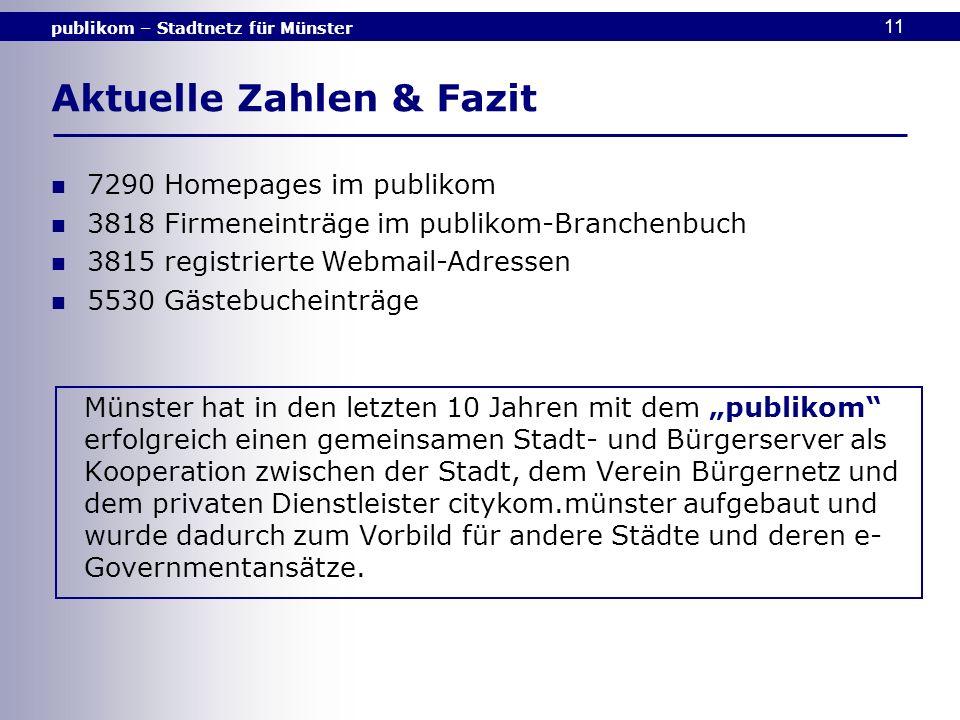 publikom – Stadtnetz für Münster 11 7290 Homepages im publikom 3818 Firmeneinträge im publikom-Branchenbuch 3815 registrierte Webmail-Adressen 5530 Gä