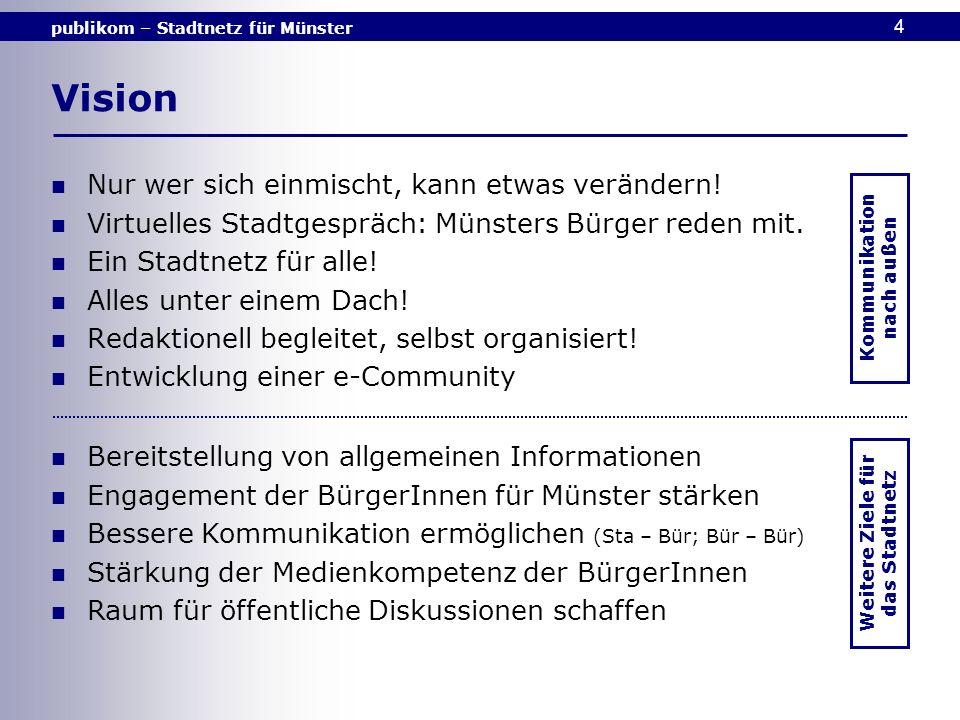 publikom – Stadtnetz für Münster 4 Vision Nur wer sich einmischt, kann etwas verändern! Virtuelles Stadtgespräch: Münsters Bürger reden mit. Ein Stadt