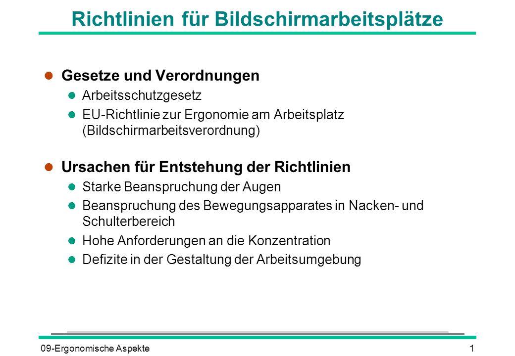 09-Ergonomische Aspekte1 Richtlinien für Bildschirmarbeitsplätze l Gesetze und Verordnungen l Arbeitsschutzgesetz l EU-Richtlinie zur Ergonomie am Arb