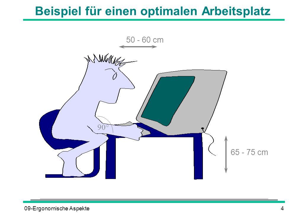 09-Ergonomische Aspekte4 Beispiel für einen optimalen Arbeitsplatz 50 - 60 cm 65 - 75 cm 90°