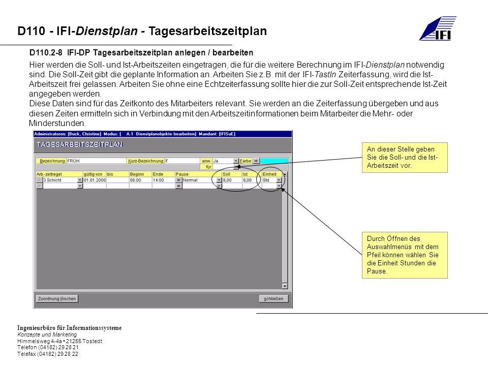 Ingenieurbüro für Informationssysteme Konzepte und Marketing Himmelsweg 4-4a 21255 Tostedt Telefon (04182) 29 28 21 Telefax (04182) 29 28 22 D110 - IFI-Dienstplan - Tagesarbeitszeitplan D110.2-8 IFI-DP Tagesarbeitszeitplan anlegen / bearbeiten Hier werden die Soll- und Ist-Arbeitszeiten eingetragen, die für die weitere Berechnung im IFI-Dienstplan notwendig sind.